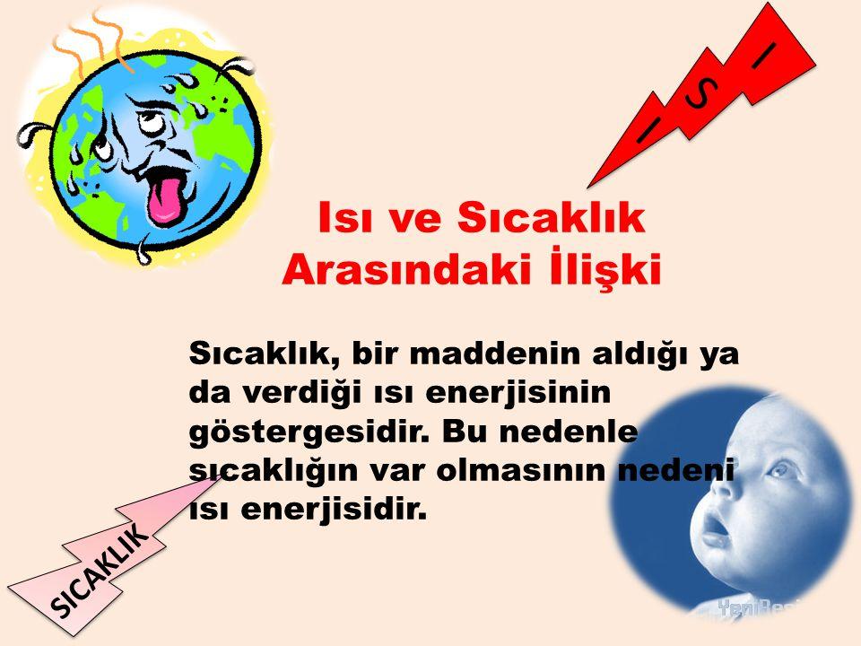 I S I SICAKLIK Isı ve Sıcaklık Arasındaki İlişki Sıcaklık, bir maddenin aldığı ya da verdiği ısı enerjisinin göstergesidir. Bu nedenle sıcaklığın var