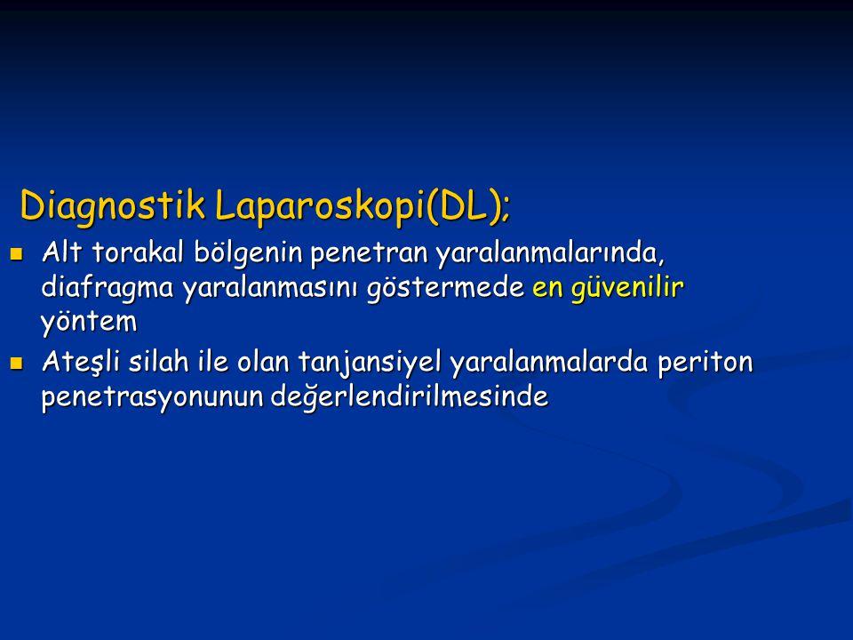 Diagnostik Laparoskopi(DL); Diagnostik Laparoskopi(DL); Alt torakal bölgenin penetran yaralanmalarında, diafragma yaralanmasını göstermede en güvenilir yöntem Alt torakal bölgenin penetran yaralanmalarında, diafragma yaralanmasını göstermede en güvenilir yöntem Ateşli silah ile olan tanjansiyel yaralanmalarda periton penetrasyonunun değerlendirilmesinde Ateşli silah ile olan tanjansiyel yaralanmalarda periton penetrasyonunun değerlendirilmesinde