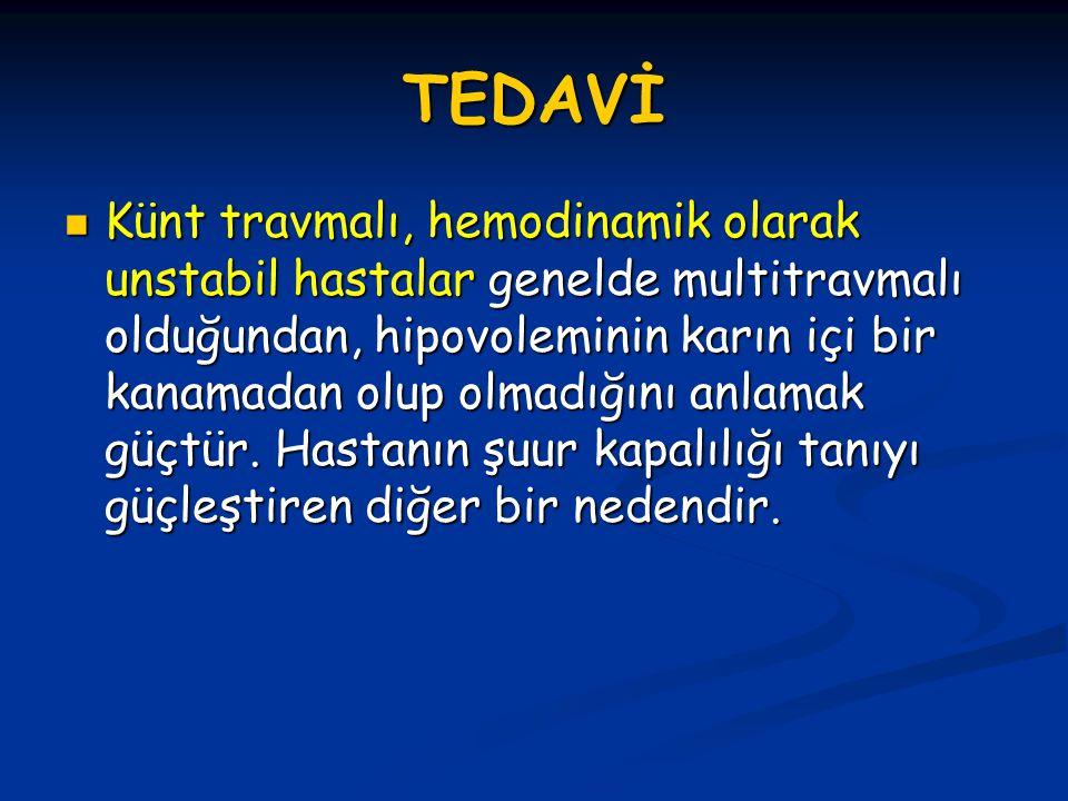 TEDAVİ Künt travmalı, hemodinamik olarak unstabil hastalar genelde multitravmalı olduğundan, hipovoleminin karın içi bir kanamadan olup olmadığını anlamak güçtür.