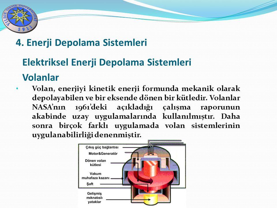 Elektriksel Enerji Depolama Sistemleri Volanlar 4. Enerji Depolama Sistemleri Volan, enerjiyi kinetik enerji formunda mekanik olarak depolayabilen ve