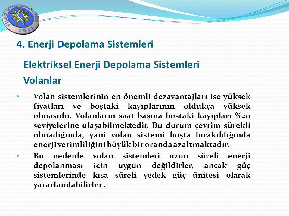 Elektriksel Enerji Depolama Sistemleri Volanlar 4. Enerji Depolama Sistemleri Volan sistemlerinin en önemli dezavantajları ise yüksek fiyatları ve boş