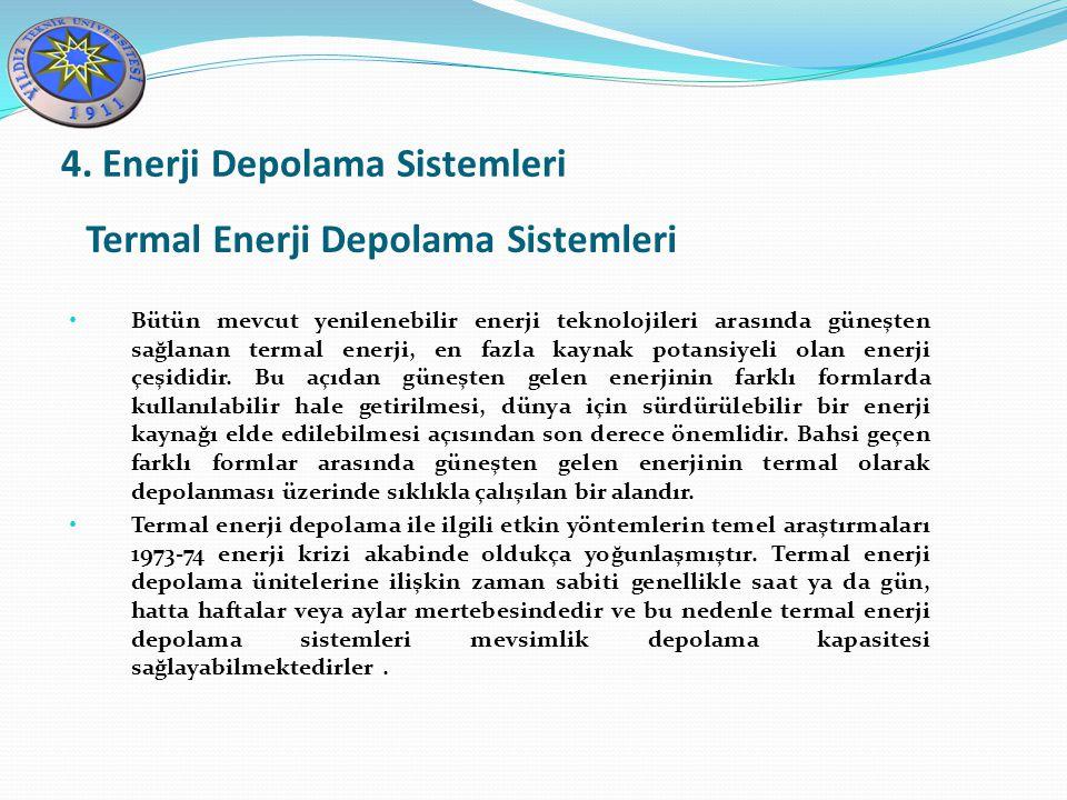Termal Enerji Depolama Sistemleri 4. Enerji Depolama Sistemleri Bütün mevcut yenilenebilir enerji teknolojileri arasında güneşten sağlanan termal ener
