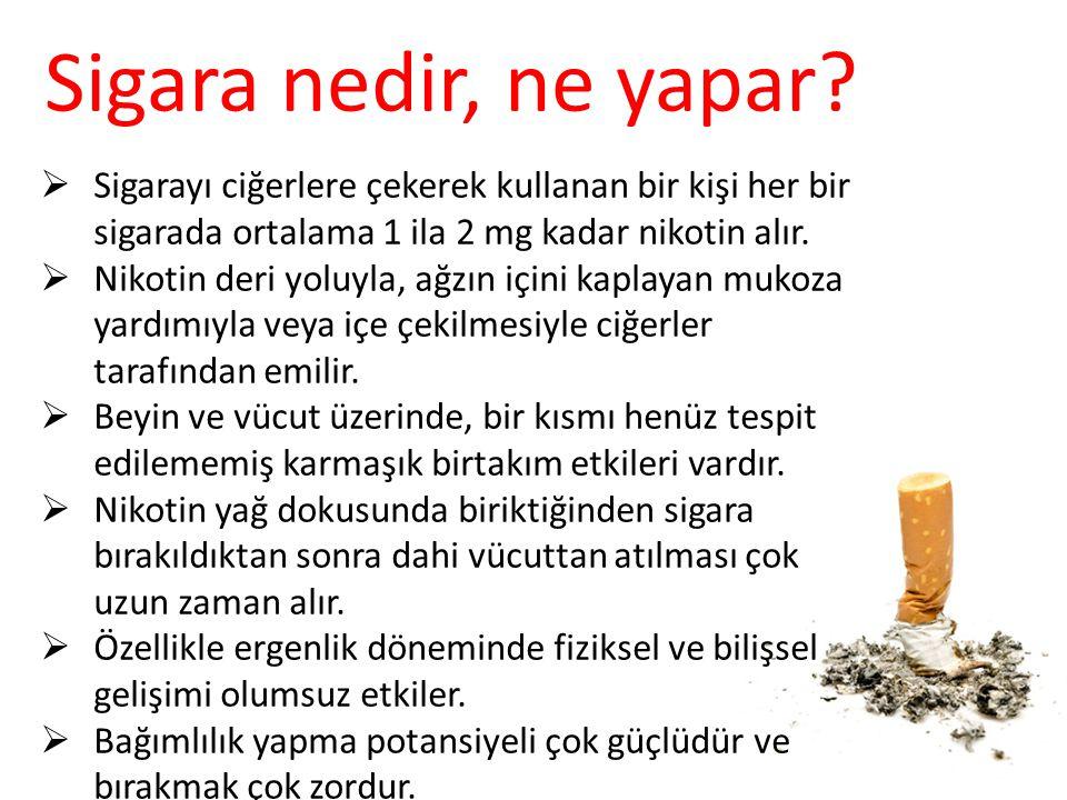  Sigarayı ciğerlere çekerek kullanan bir kişi her bir sigarada ortalama 1 ila 2 mg kadar nikotin alır.  Nikotin deri yoluyla, ağzın içini kaplayan m