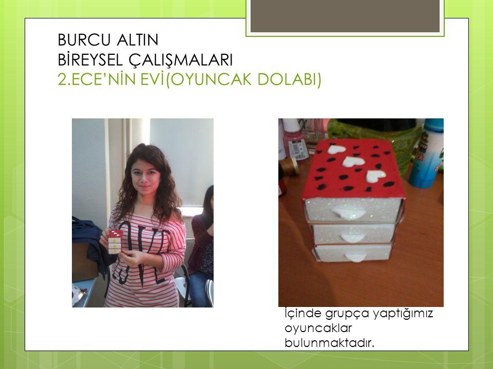 BURCU ALTIN BİREYSEL ÇALIŞMALARI 2.ECE'NİN EVİ(OYUNCAK DOLABI) İçinde grupça yaptığımız oyuncaklar bulunmaktadır.