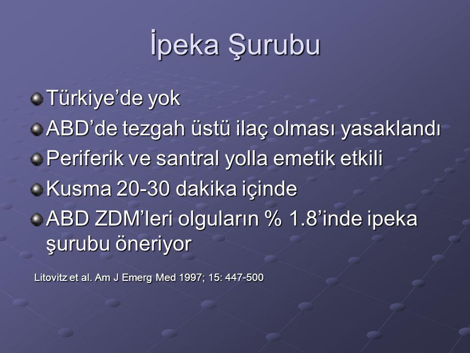İpeka Şurubu Türkiye'de yok ABD'de tezgah üstü ilaç olması yasaklandı Periferik ve santral yolla emetik etkili Kusma 20-30 dakika içinde ABD ZDM'leri