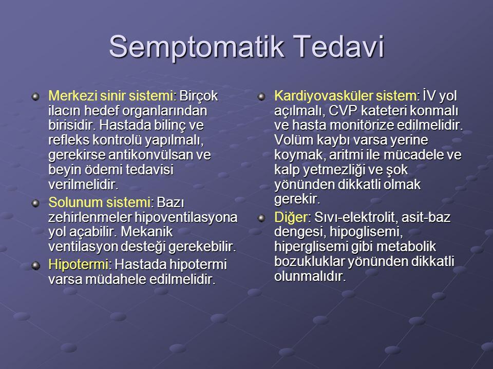 Semptomatik Tedavi : Birçok ilacın hedef organlarından birisidir. Hastada bilinç ve refleks kontrolü yapılmalı, gerekirse antikonvülsan ve beyin ödemi