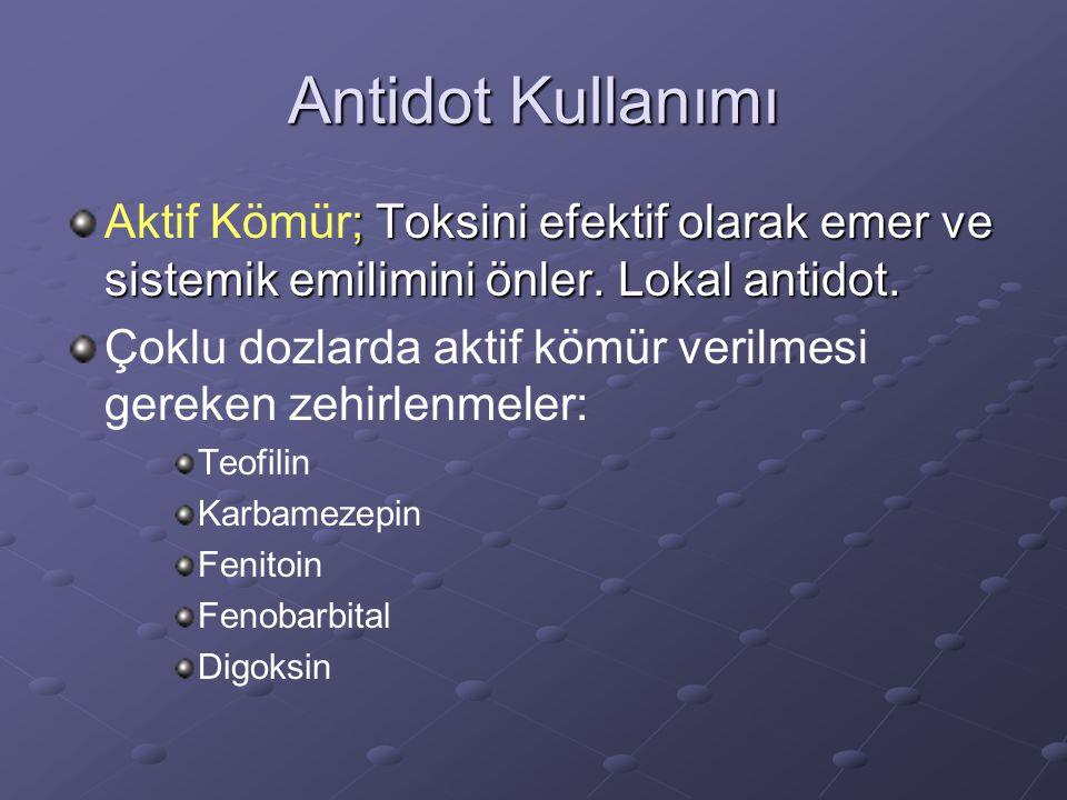 Antidot Kullanımı ; Toksini efektif olarak emer ve sistemik emilimini önler. Lokal antidot. Aktif Kömür; Toksini efektif olarak emer ve sistemik emili