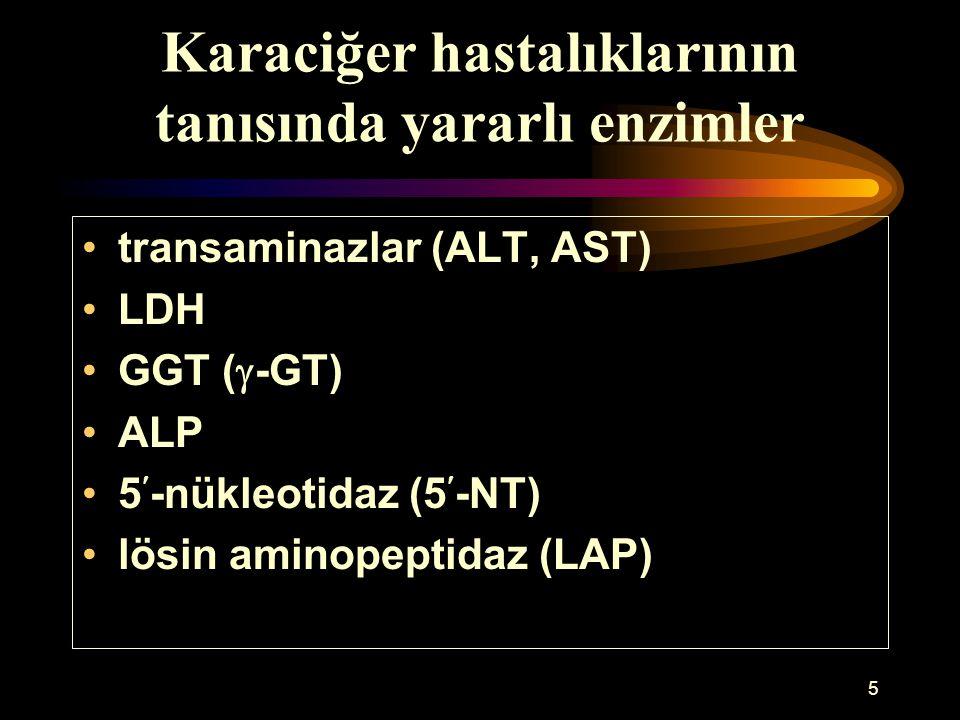 5 Karaciğer hastalıklarının tanısında yararlı enzimler transaminazlar (ALT, AST) LDH GGT (  -GT) ALP 5-nükleotidaz (5-NT) lösin aminopeptidaz (LAP)