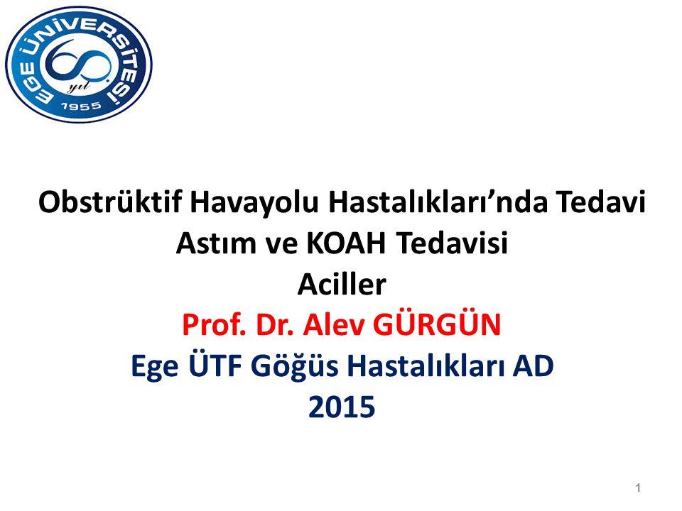 1 Obstrüktif Havayolu Hastalıkları'nda Tedavi Astım ve KOAH Tedavisi Aciller Prof. Dr. Alev GÜRGÜN Ege ÜTF Göğüs Hastalıkları AD 2015
