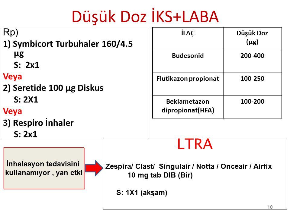 Düşük Doz İKS+LABA Rp) 1) Symbicort Turbuhaler 160/4.5 µg S: 2x1 Veya 2) Seretide 100 µg Diskus S: 2X1 Veya 3) Respiro İnhaler S: 2x1 LTRA Zespira/ Cl