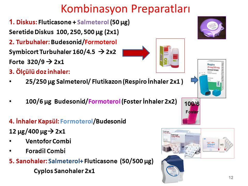 Kombinasyon Preparatları 1. Diskus: Fluticasone + Salmeterol (50 µg) Seretide Diskus 100, 250, 500 µg (2x1) 2. Turbuhaler: Budesonid/Formoterol Symbic