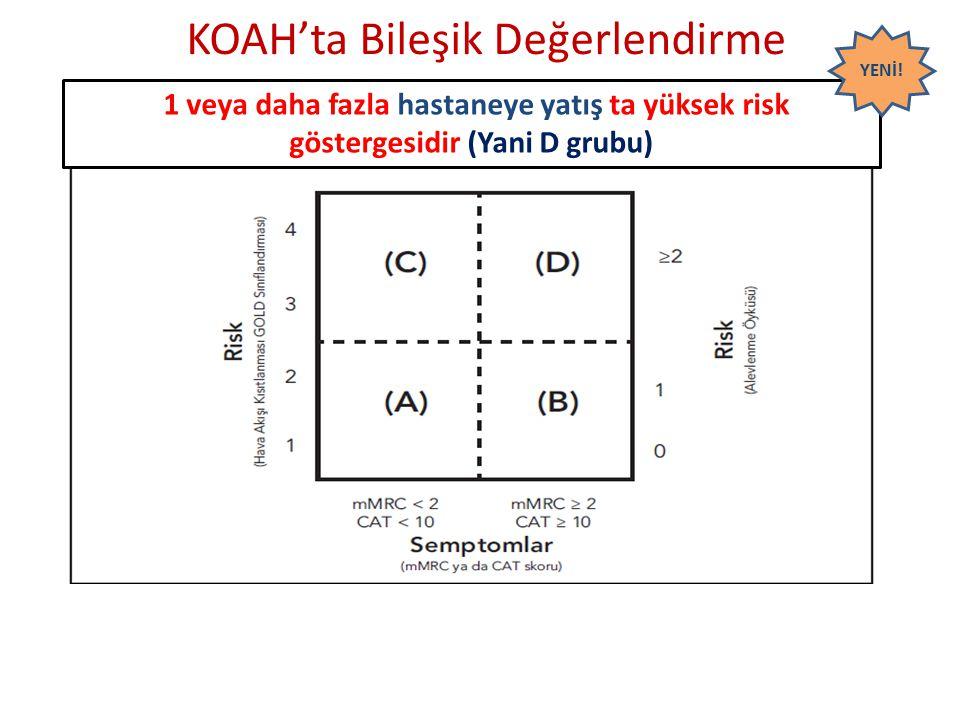 KOAH'ta Bileşik Değerlendirme 1 veya daha fazla hastaneye yatış ta yüksek risk göstergesidir (Yani D grubu) YENİ!