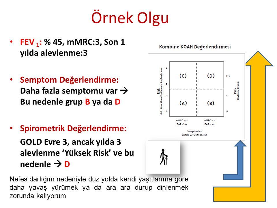 Örnek Olgu FEV 1 : % 45, mMRC:3, Son 1 yılda alevlenme:3 Semptom Değerlendirme: Daha fazla semptomu var  Bu nedenle grup B ya da D Spirometrik Değerl