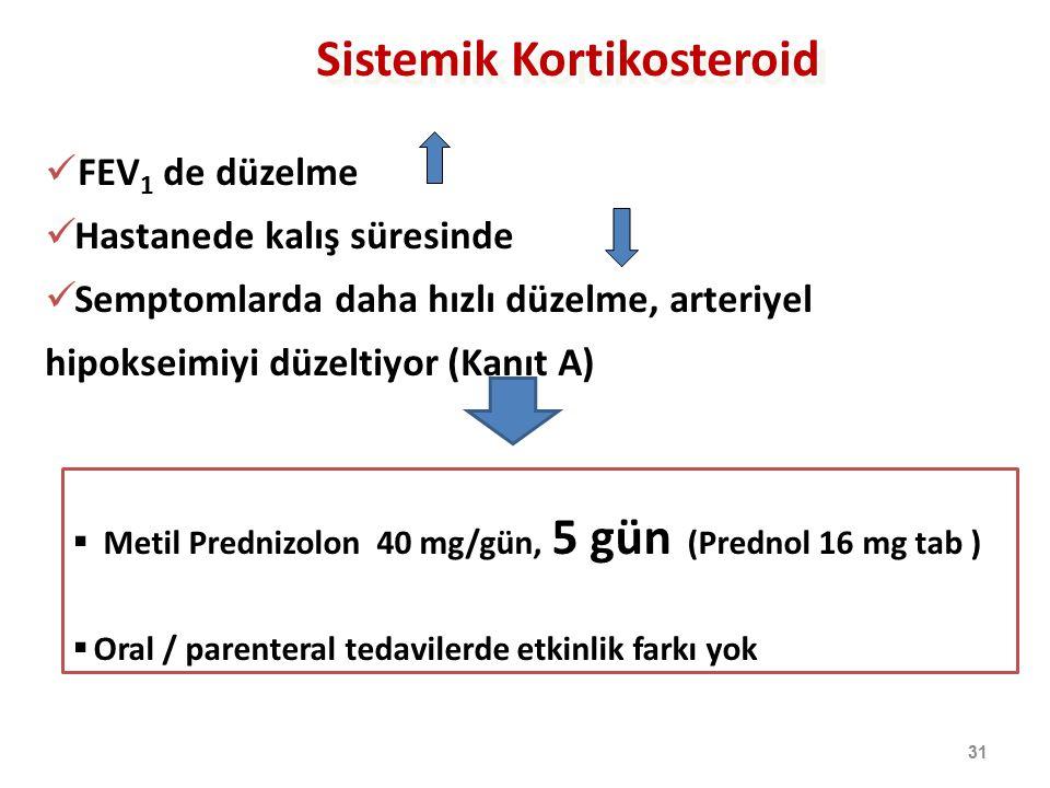Sistemik Kortikosteroid 31 FEV 1 de düzelme Hastanede kalış süresinde Semptomlarda daha hızlı düzelme, arteriyel hipokseimiyi düzeltiyor (Kanıt A)  M