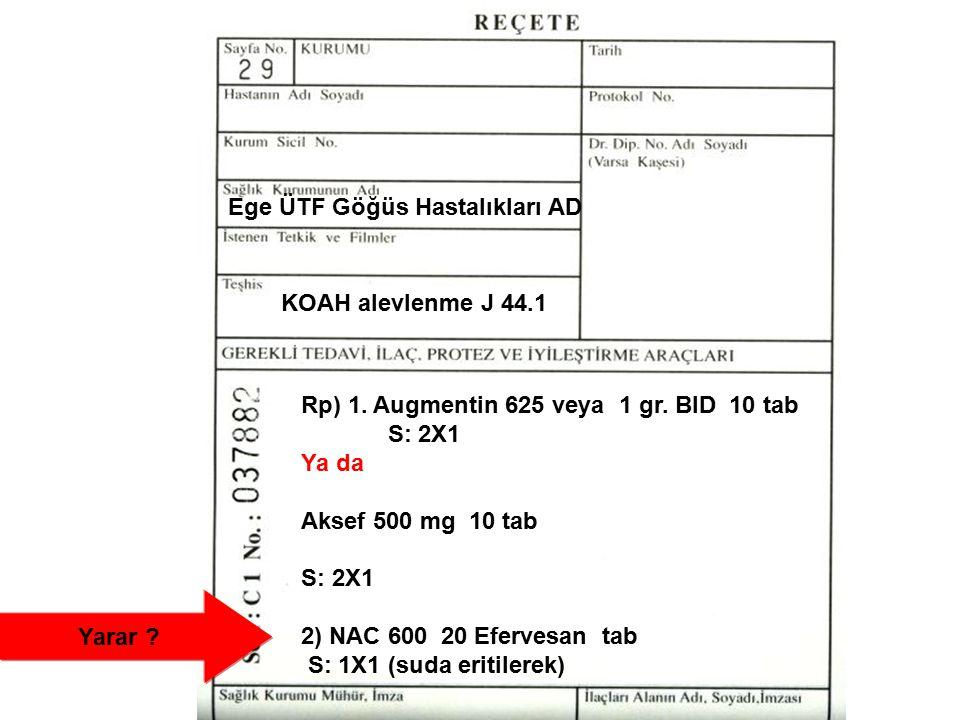 KOAH alevlenme J 44.1 Rp) 1. Augmentin 625 veya 1 gr. BID 10 tab S: 2X1 Ya da Aksef 500 mg 10 tab S: 2X1 2) NAC 600 20 Efervesan tab S: 1X1 (suda erit