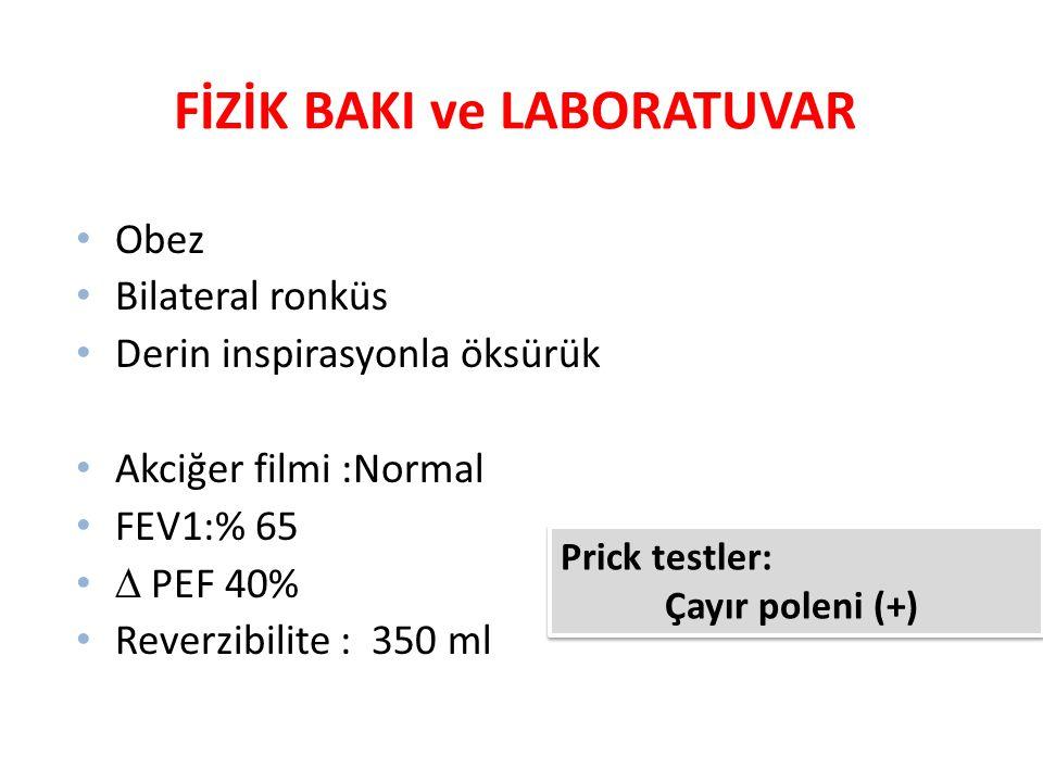 FİZİK BAKI ve LABORATUVAR Obez Bilateral ronküs Derin inspirasyonla öksürük Akciğer filmi :Normal FEV1:% 65  PEF 40% Reverzibilite : 350 ml Prick tes
