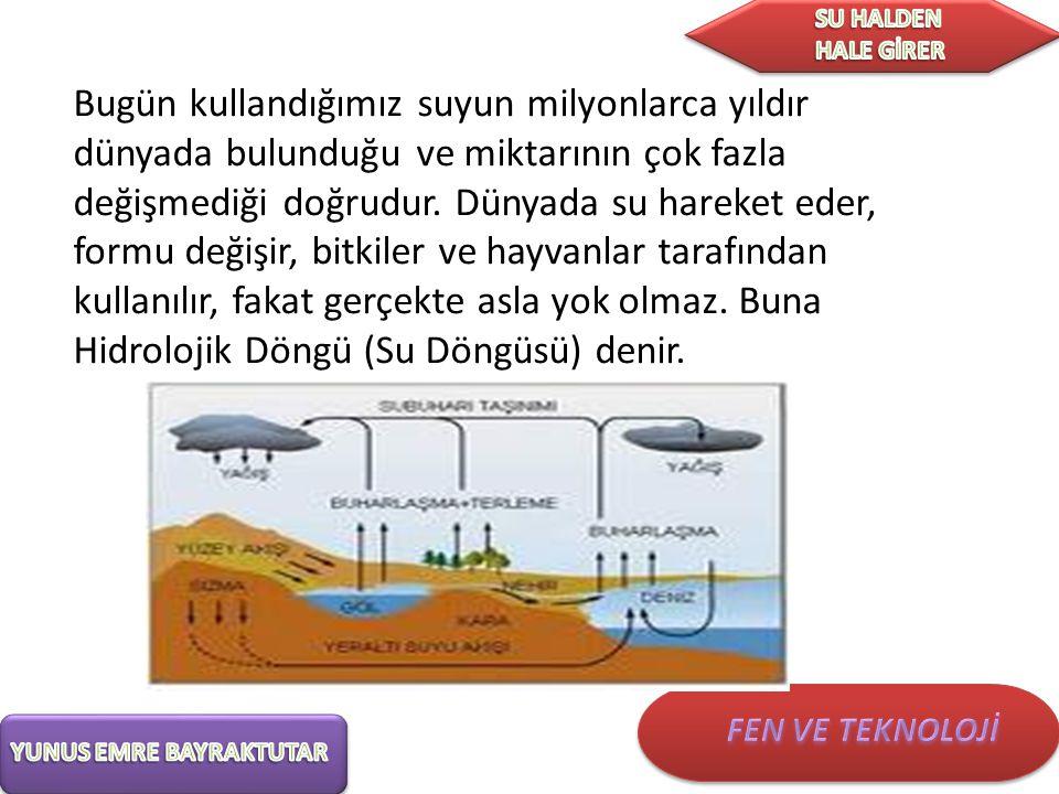 Su döngüsünü oluşturan basamaklar Bu döngüde suyun hareket etmesini sağlayan beş değişik olay vardır: 1- Yoğunlaşma 2- Yağış 3- Toprağa geçiş ve yeraltı sularının oluşumu, 4- Yüzeysel akıntı ve yüzey suları ile yeraltı sularının oluşumu, 5- Buharlaşma