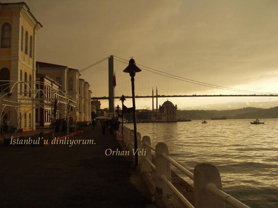 İstanbul'u dinliyorum, gözlerim kapalı Bir kuş çırpınıyor eteklerinde Alnın sıcak mı, değil mi, bilmiyorum Dudakların ıslak mı, değil mi, bilmiyorum B