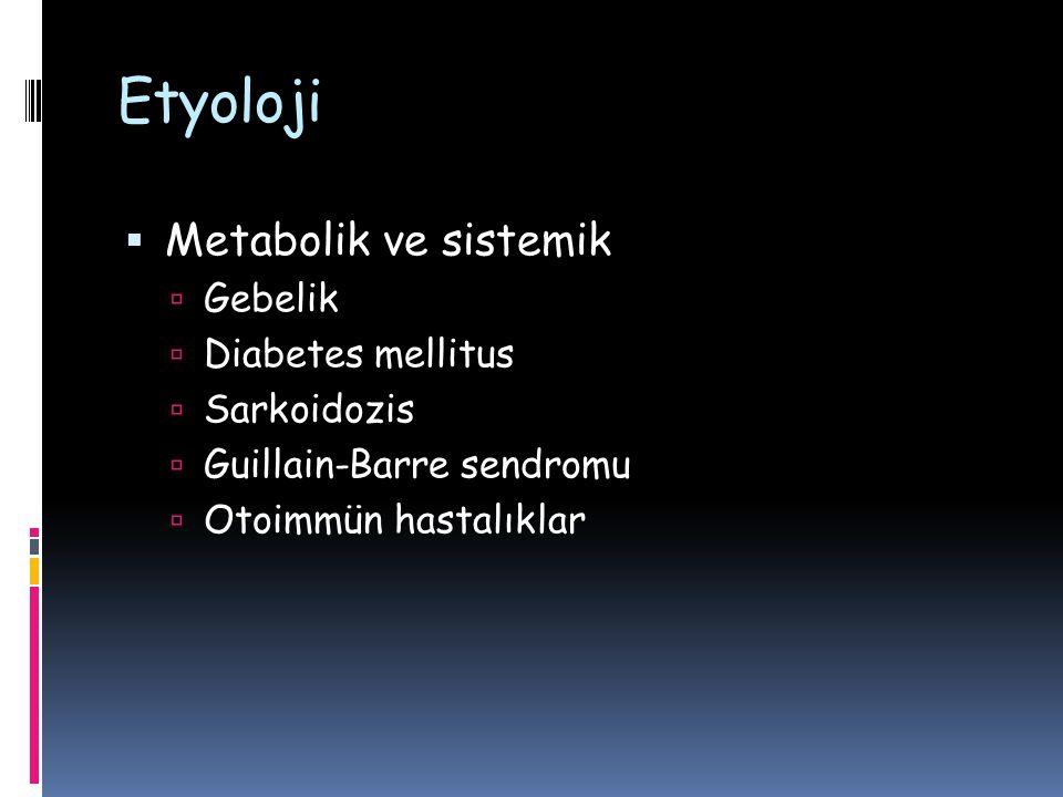 Etyoloji  Metabolik ve sistemik  Gebelik  Diabetes mellitus  Sarkoidozis  Guillain-Barre sendromu  Otoimmün hastalıklar
