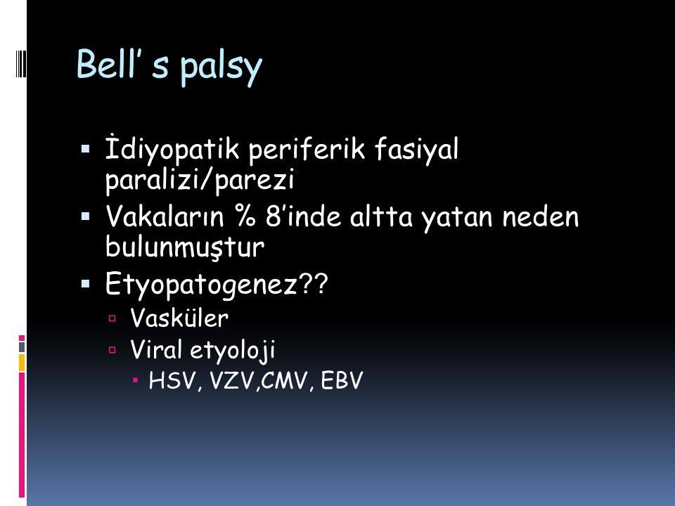 Bell' s palsy  İdiyopatik periferik fasiyal paralizi/parezi  Vakaların % 8'inde altta yatan neden bulunmuştur  Etyopatogenez ??  Vasküler  Viral