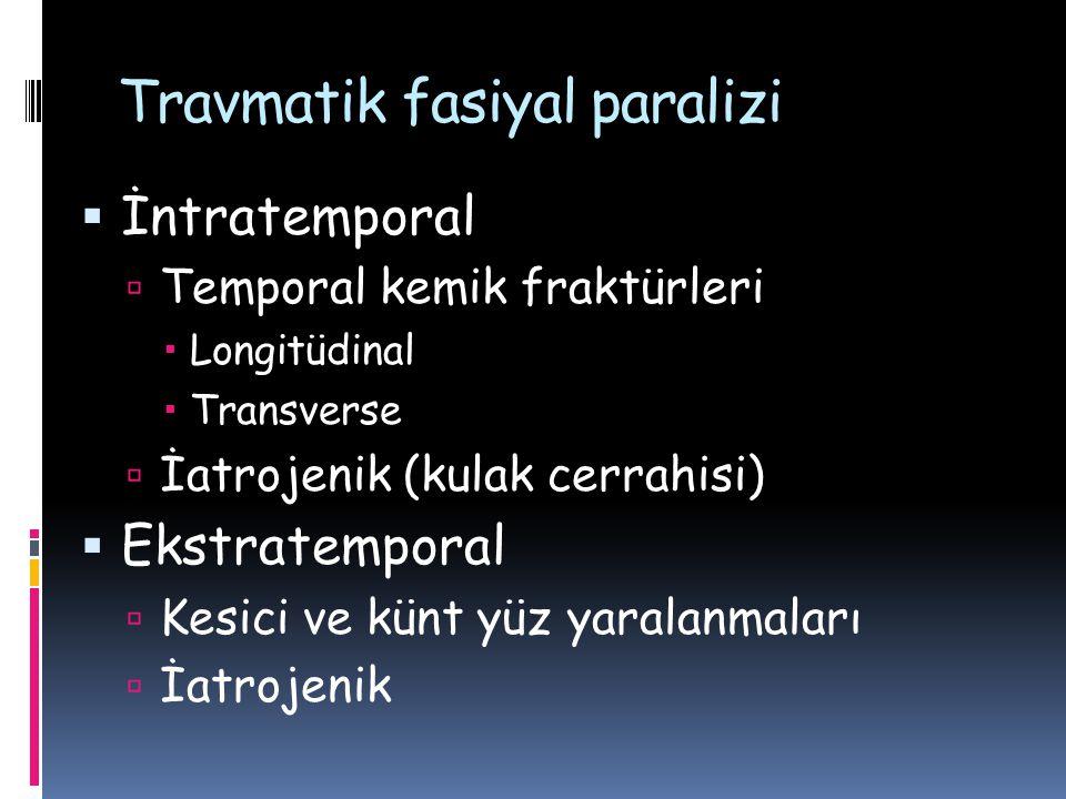 Travmatik fasiyal paralizi  İntratemporal  Temporal kemik fraktürleri  Longitüdinal  Transverse  İatrojenik (kulak cerrahisi)  Ekstratemporal 