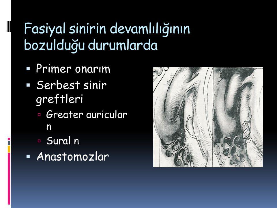 Fasiyal sinirin devamlılığının bozulduğu durumlarda  Primer onarım  Serbest sinir greftleri  Greater auricular n  Sural n  Anastomozlar