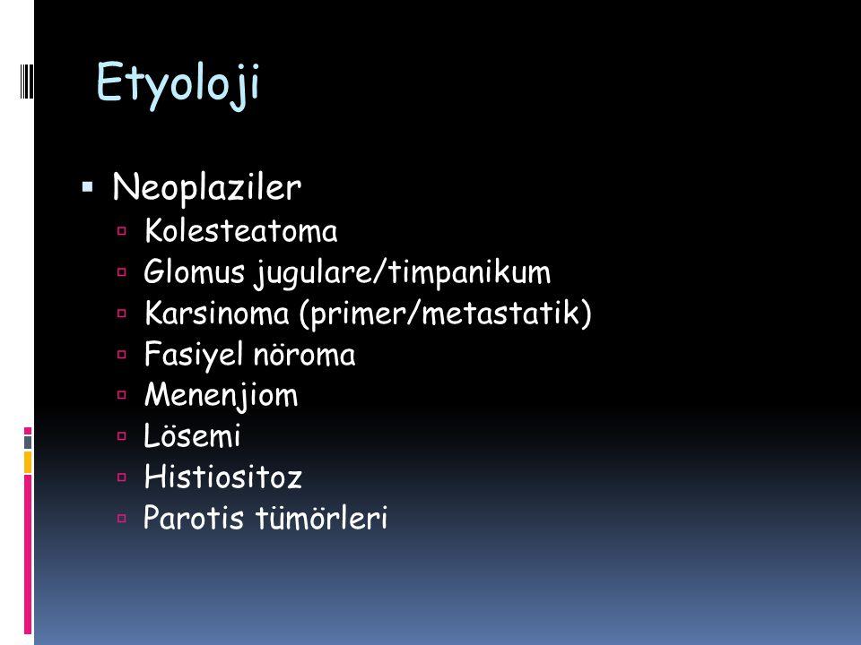 Etyoloji  Neoplaziler  Kolesteatoma  Glomus jugulare/timpanikum  Karsinoma (primer/metastatik)  Fasiyel nöroma  Menenjiom  Lösemi  Histiositoz