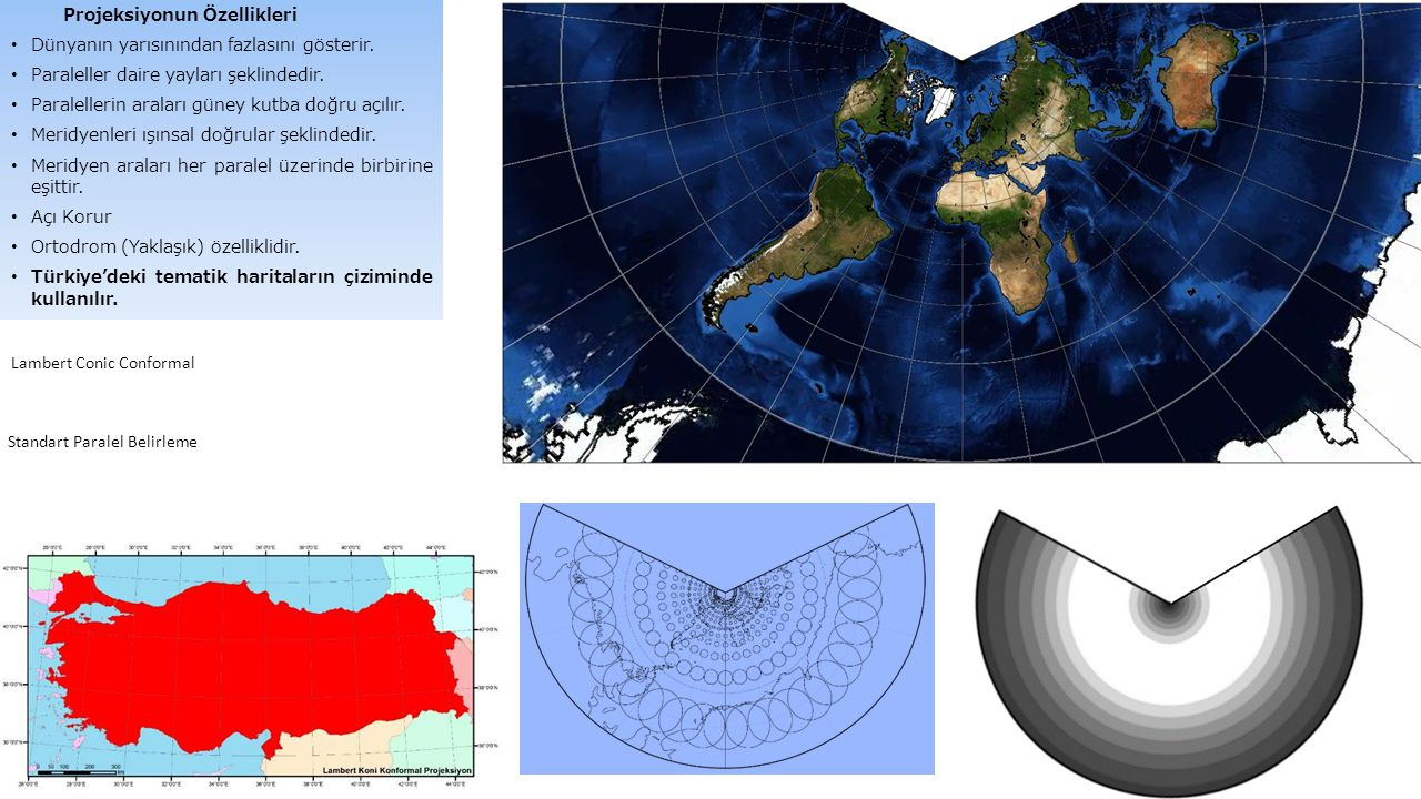 Projeksiyonun Özellikleri Dünyanın yarısınından fazlasını gösterir. Paraleller daire yayları şeklindedir. Paralellerin araları güney kutba doğru açılı