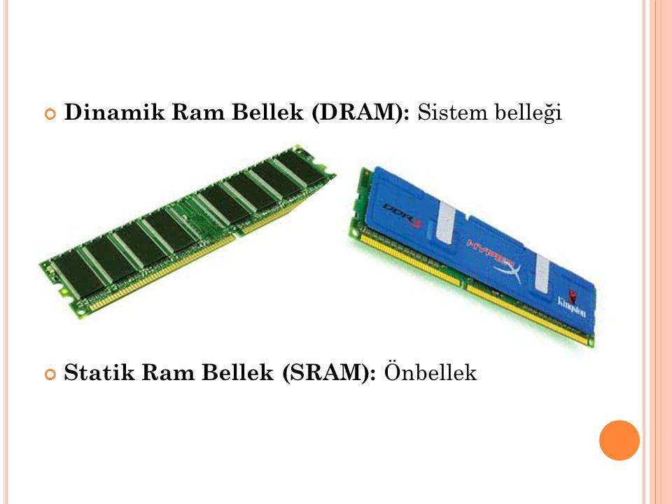 Dinamik Ram Bellek (DRAM): Sistem belleği Statik Ram Bellek (SRAM): Önbellek