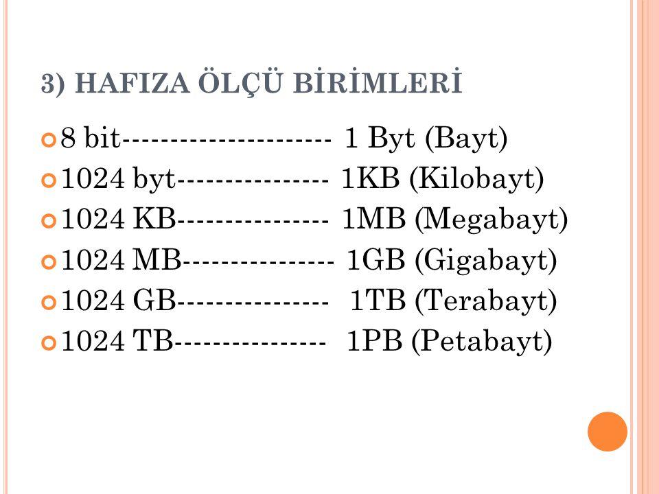 3) HAFIZA ÖLÇÜ BİRİMLERİ 8 bit---------------------- 1 Byt (Bayt) 1024 byt---------------- 1KB (Kilobayt) 1024 KB---------------- 1MB (Megabayt) 1024