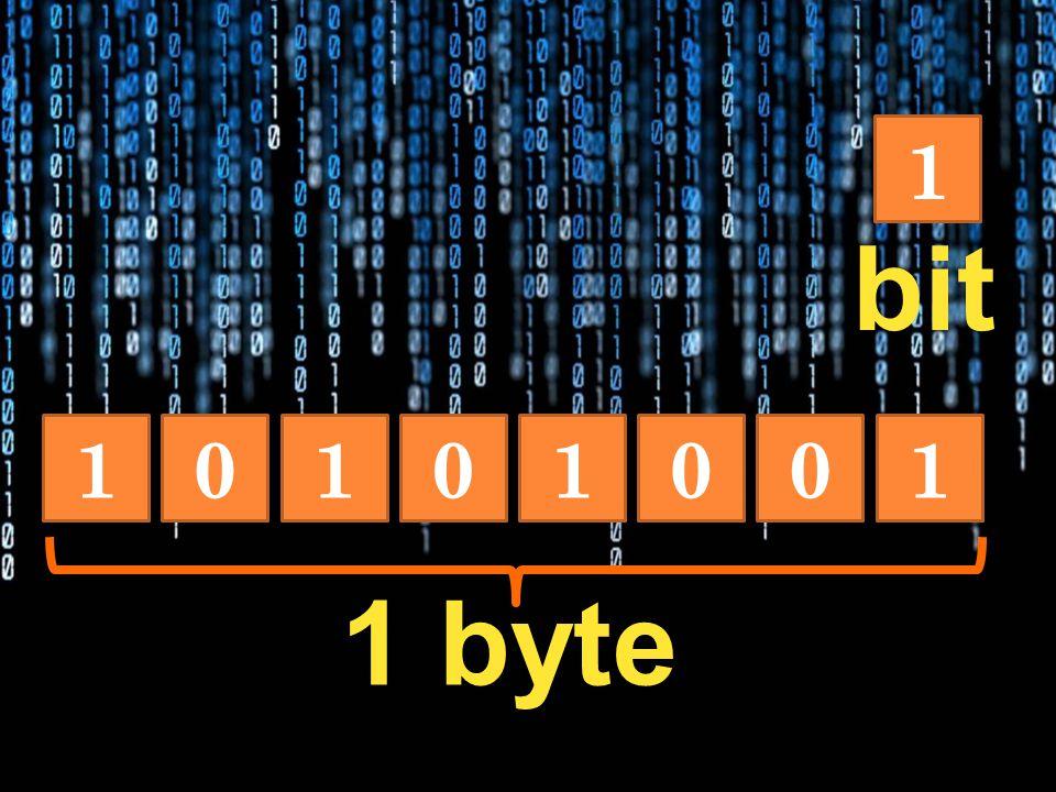 1 00101011 1 byte bit