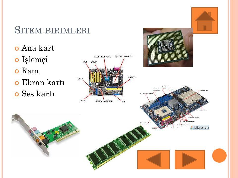 S ITEM BIRIMLERI Ana kart İşlemçi Ram Ekran kartı Ses kartı