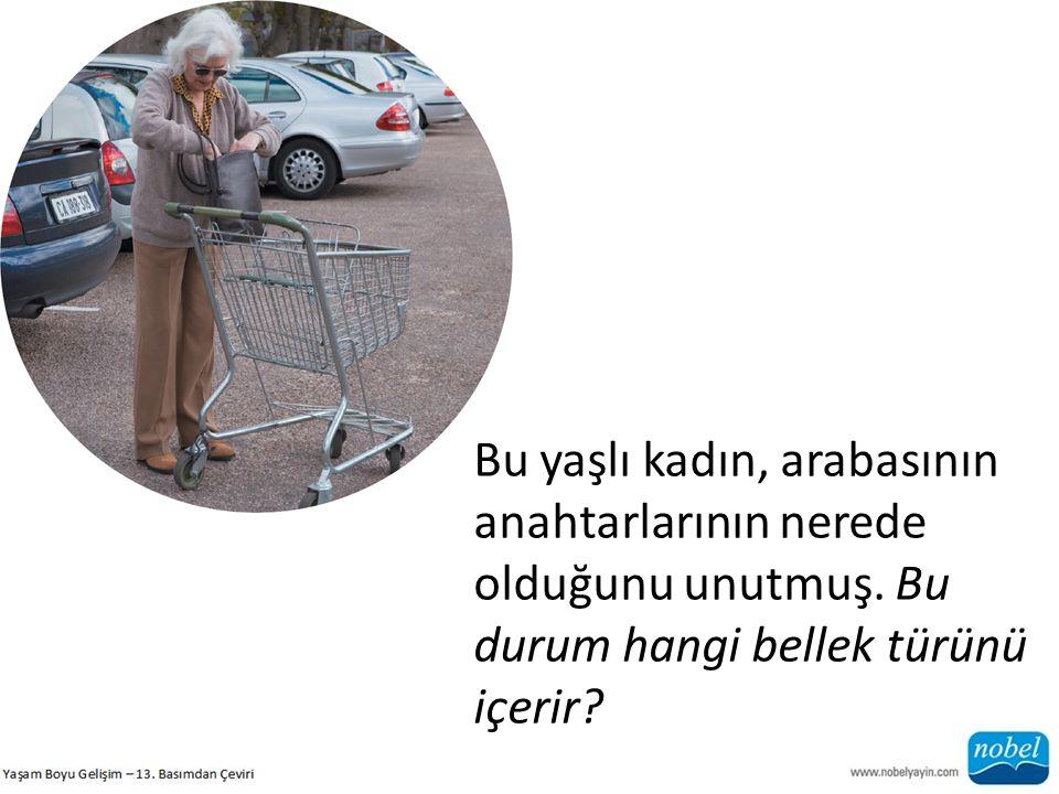 Bu yaşlı kadın, arabasının anahtarlarının nerede olduğunu unutmuş. Bu durum hangi bellek türünü içerir?