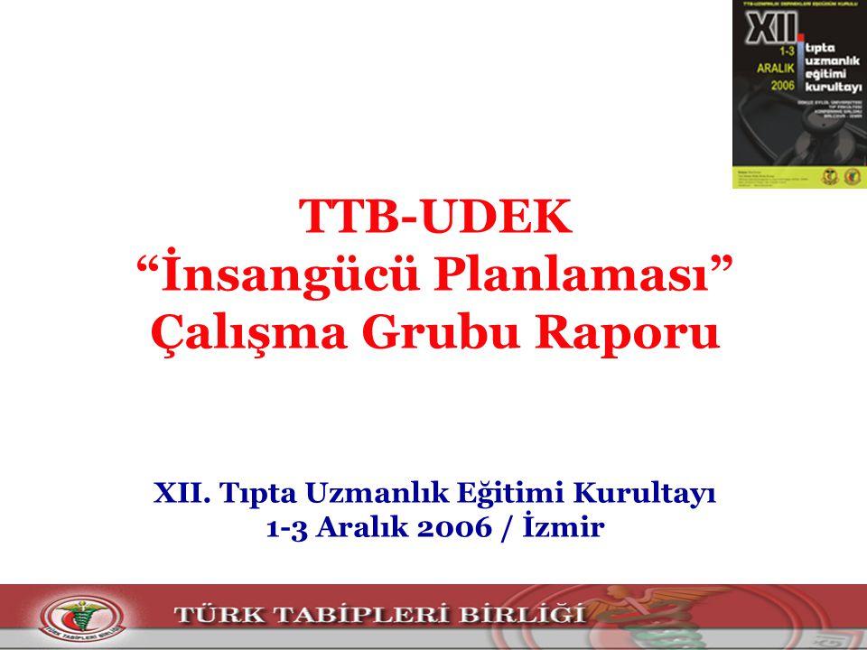 TTB-UDEK İnsangücü Planlaması Çalışma Grubu Raporu XII.