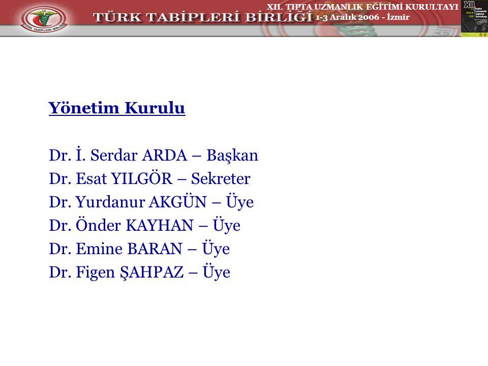 Yönetim Kurulu Dr. İ. Serdar ARDA – Başkan Dr. Esat YILGÖR – Sekreter Dr.