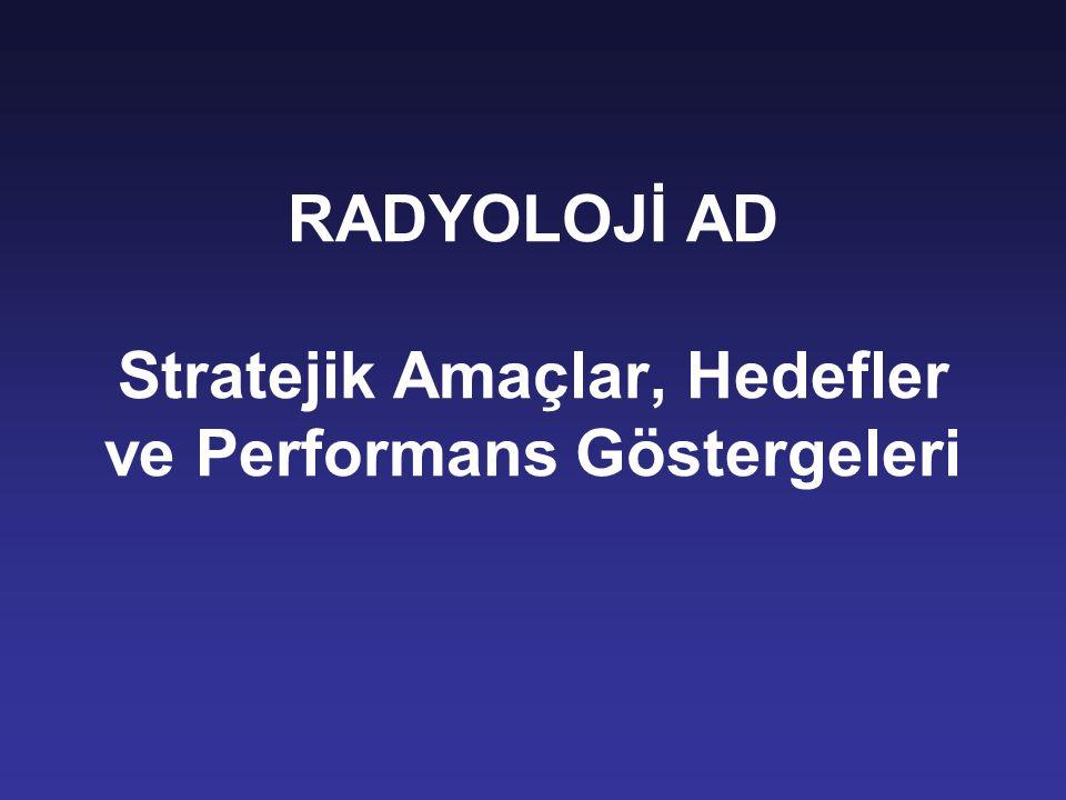 RADYOLOJİ AD Stratejik Amaçlar, Hedefler ve Performans Göstergeleri