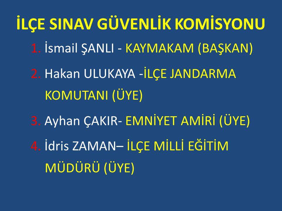 İLÇE SINAV GÜVENLİK KOMİSYONU 1. İsmail ŞANLI - KAYMAKAM (BAŞKAN) 2.
