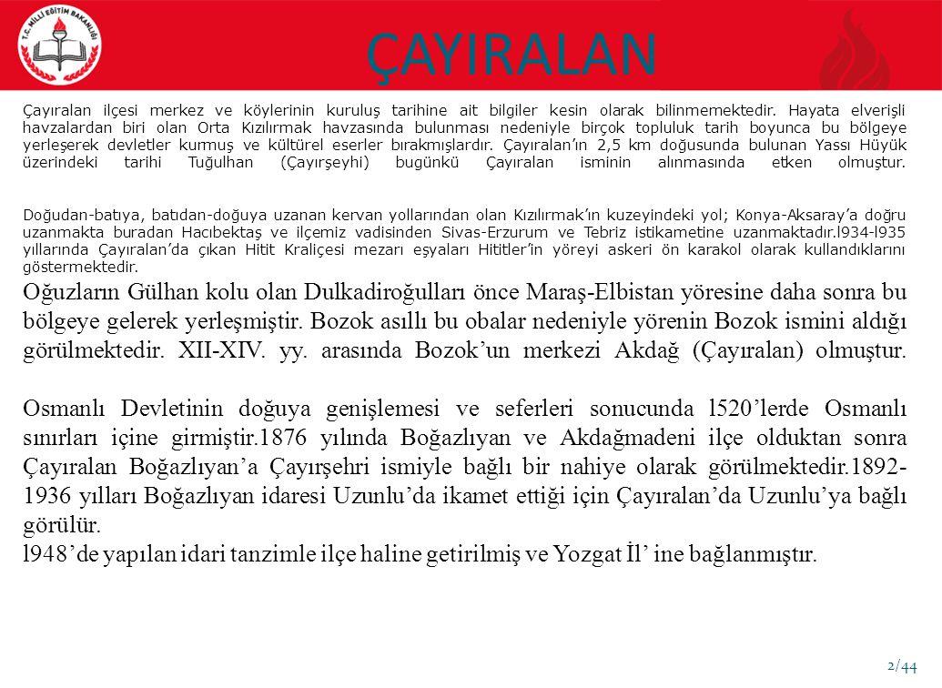 ÇAYIRALAN 2/44 Çayıralan ilçesi merkez ve köylerinin kuruluş tarihine ait bilgiler kesin olarak bilinmemektedir.