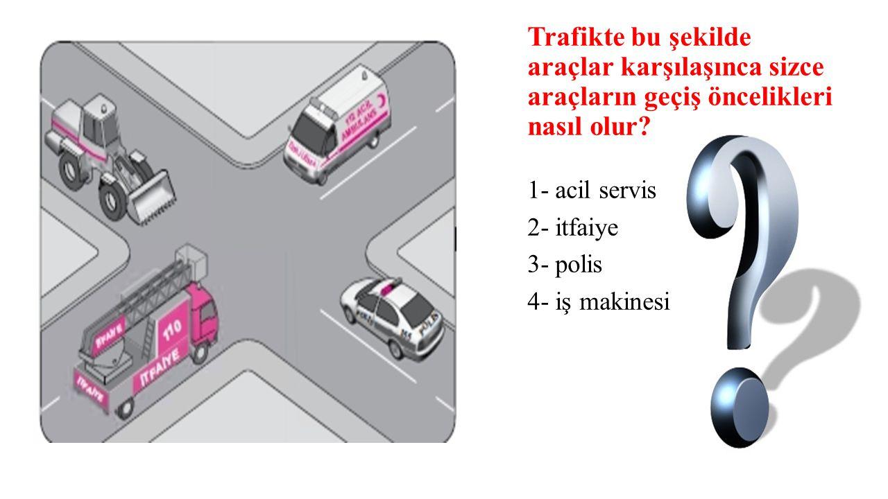 Trafikte bu şekilde araçlar karşılaşınca sizce araçların geçiş öncelikleri nasıl olur? 1- acil servis 2- itfaiye 3- polis 4- iş makinesi
