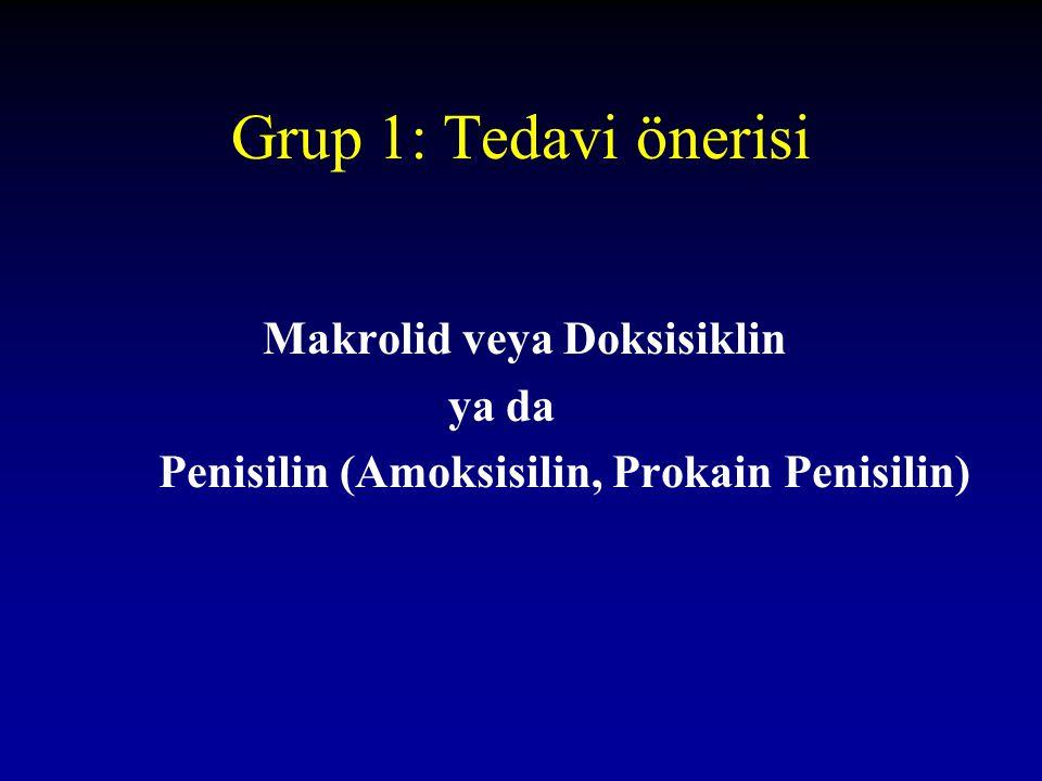 Grup 1: Tedavi önerisi Makrolid veya Doksisiklin ya da Penisilin (Amoksisilin, Prokain Penisilin)