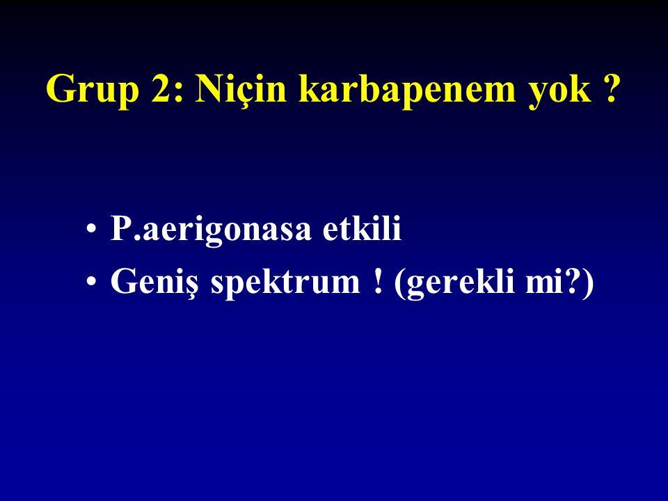 Grup 2: Niçin karbapenem yok ? P.aerigonasa etkili Geniş spektrum ! (gerekli mi?)