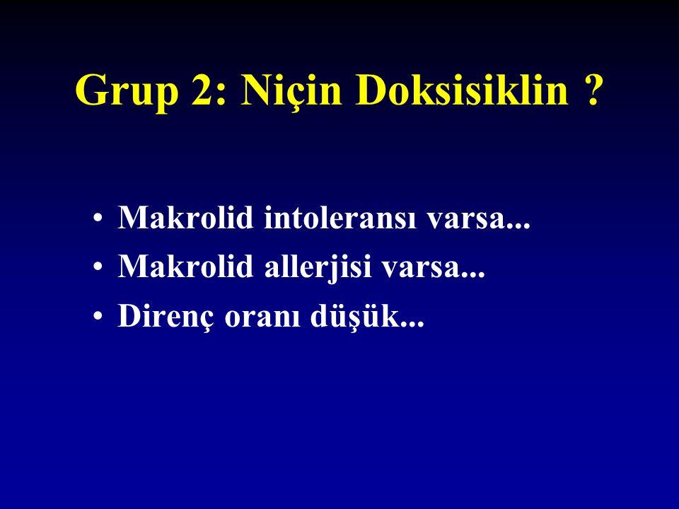 Grup 2: Niçin Doksisiklin ? Makrolid intoleransı varsa... Makrolid allerjisi varsa... Direnç oranı düşük...