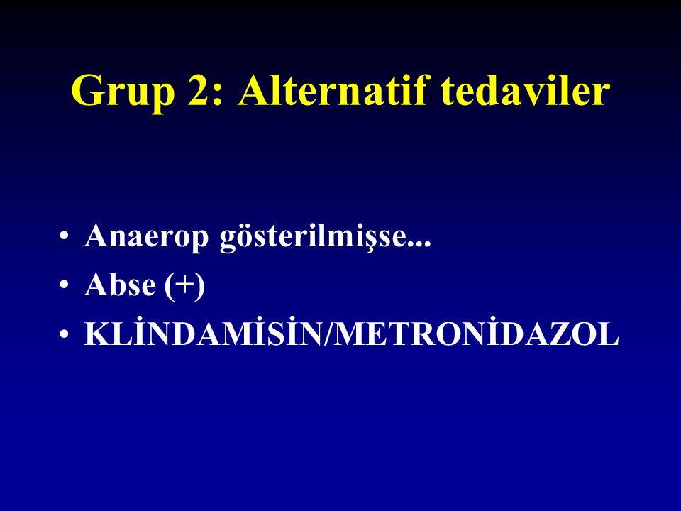 Grup 2: Alternatif tedaviler Anaerop gösterilmişse... Abse (+) KLİNDAMİSİN/METRONİDAZOL