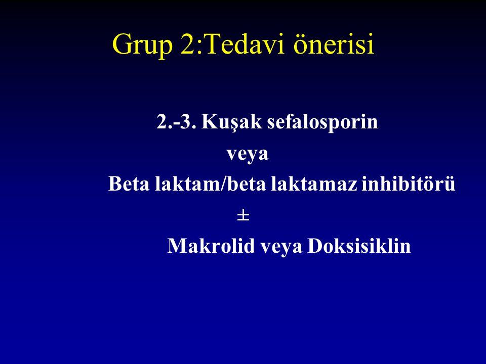 Grup 2:Tedavi önerisi 2.-3. Kuşak sefalosporin veya Beta laktam/beta laktamaz inhibitörü ± Makrolid veya Doksisiklin