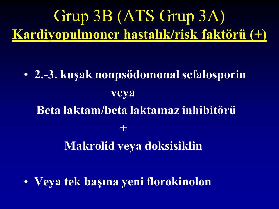 Grup 3B (ATS Grup 3A) Kardiyopulmoner hastalık/risk faktörü (+) 2.-3. kuşak nonpsödomonal sefalosporin veya Beta laktam/beta laktamaz inhibitörü + Mak