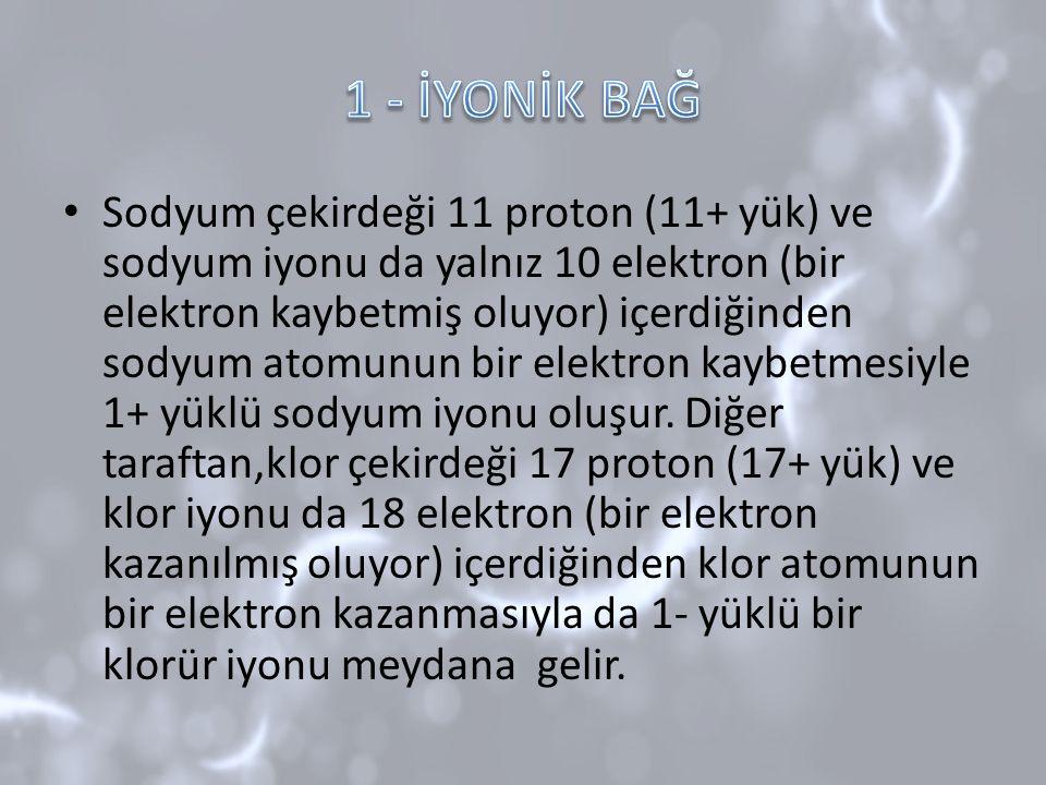 Sodyum çekirdeği 11 proton (11+ yük) ve sodyum iyonu da yalnız 10 elektron (bir elektron kaybetmiş oluyor) içerdiğinden sodyum atomunun bir elektron k