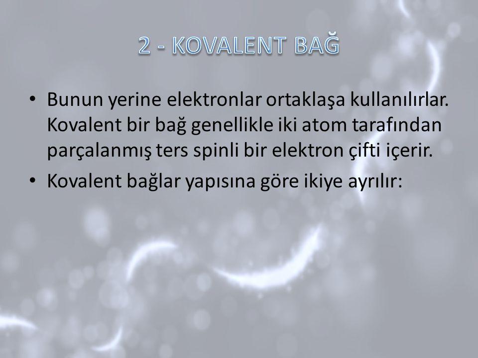 Bunun yerine elektronlar ortaklaşa kullanılırlar. Kovalent bir bağ genellikle iki atom tarafından parçalanmış ters spinli bir elektron çifti içerir. K