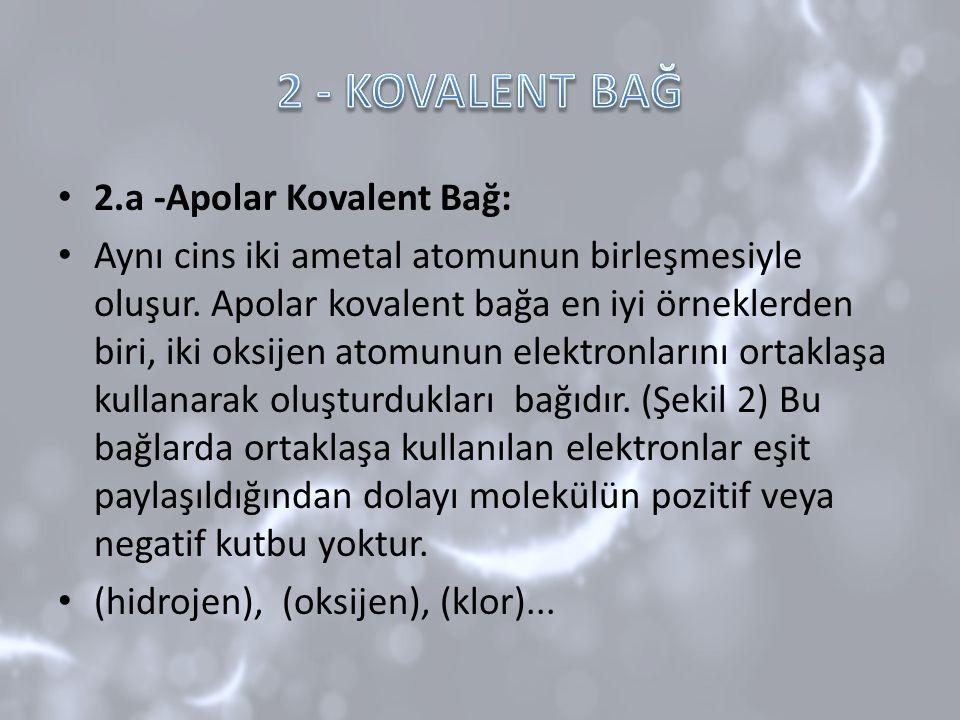 2.a -Apolar Kovalent Bağ: Aynı cins iki ametal atomunun birleşmesiyle oluşur. Apolar kovalent bağa en iyi örneklerden biri, iki oksijen atomunun elekt