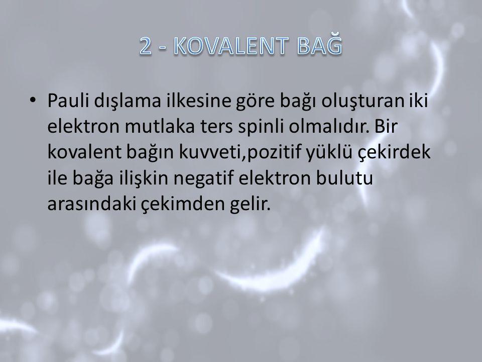Pauli dışlama ilkesine göre bağı oluşturan iki elektron mutlaka ters spinli olmalıdır. Bir kovalent bağın kuvveti,pozitif yüklü çekirdek ile bağa iliş