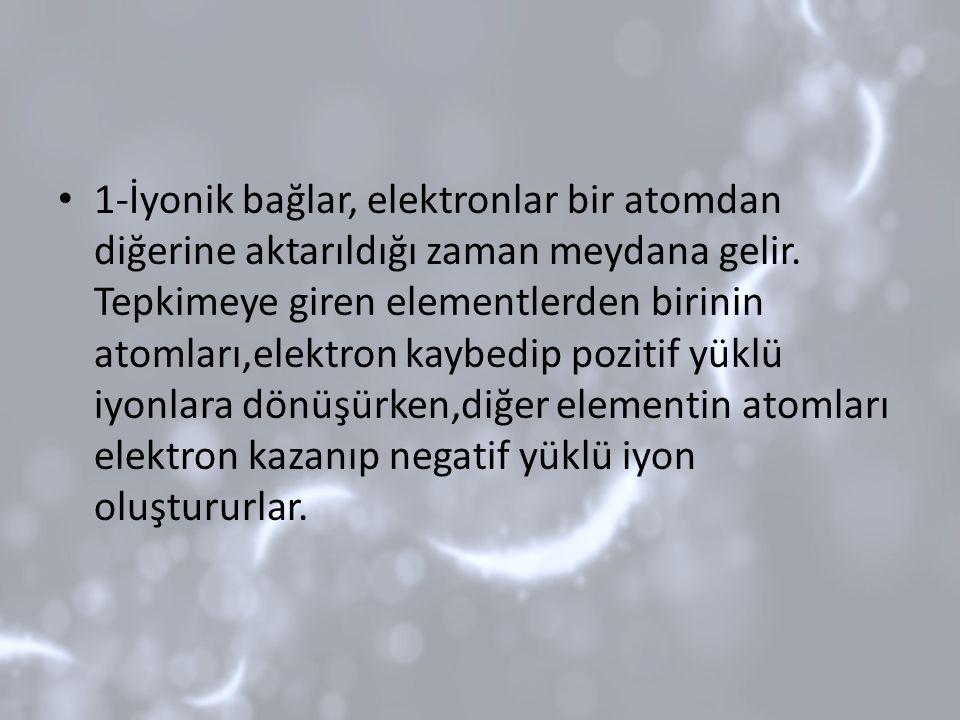 1-İyonik bağlar, elektronlar bir atomdan diğerine aktarıldığı zaman meydana gelir. Tepkimeye giren elementlerden birinin atomları,elektron kaybedip po